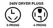 240V 3-prong and 4-prong Dryer plugs